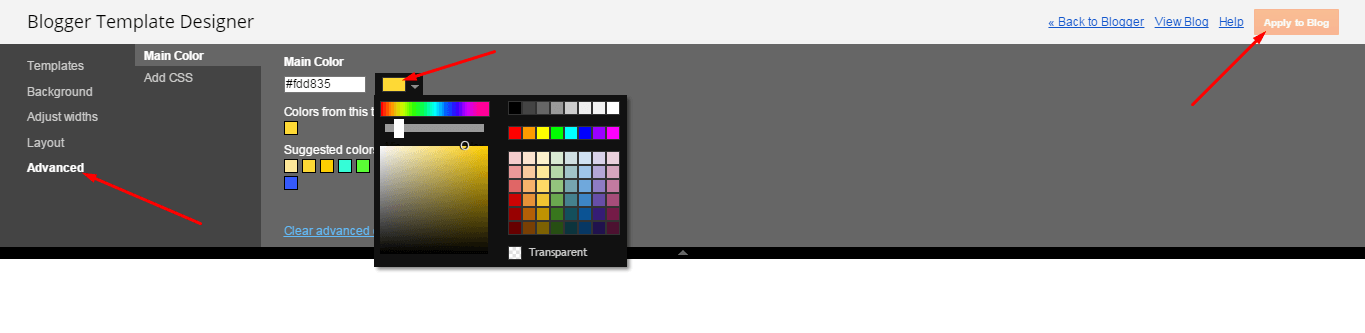 Then goto ADVANCED and select any color you want for the whole website.